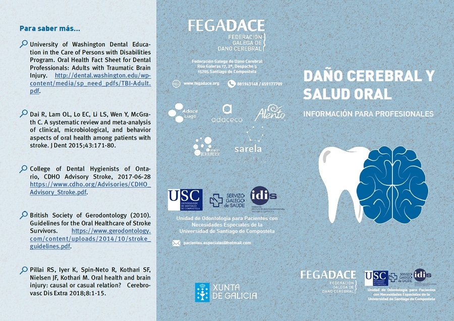 Exterior do folleto de saúde oral para profesionais en castelán