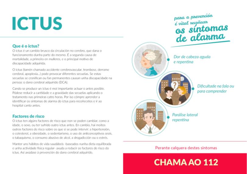 Interior do folleto Ictus, a principal causa do dano cerebral